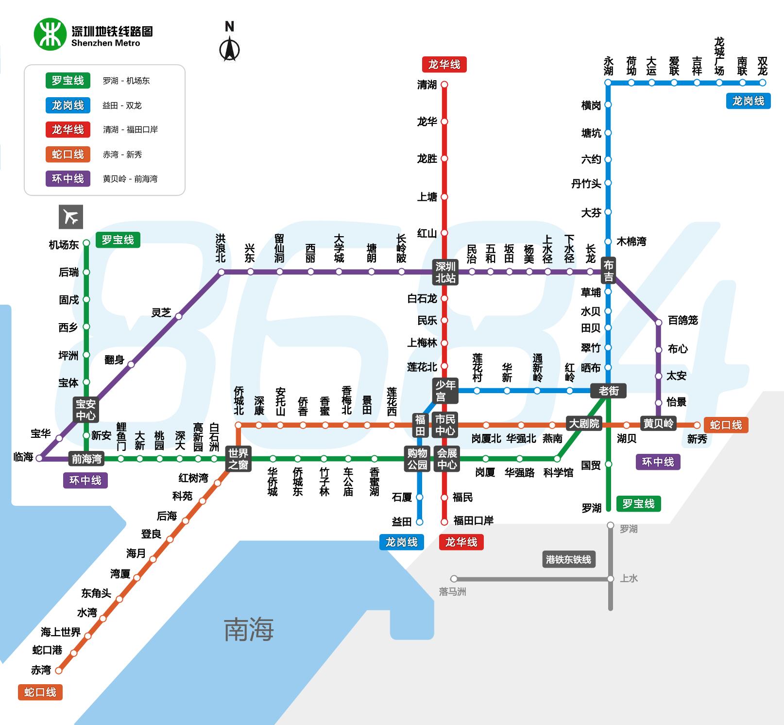 深圳地铁线路图(点击查看大图)